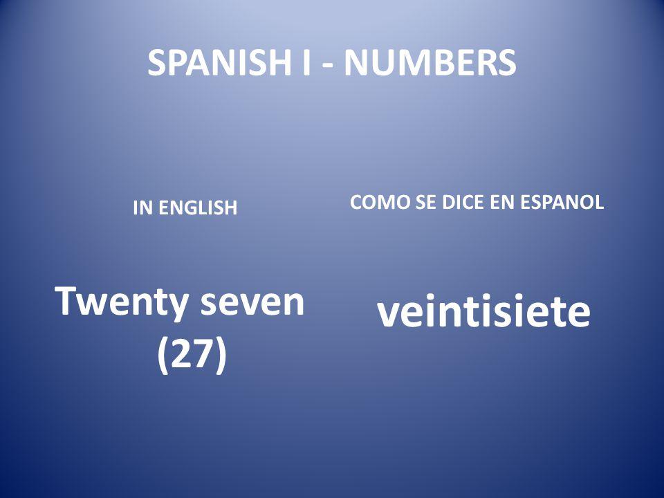 veintisiete Twenty seven (27) SPANISH I - NUMBERS