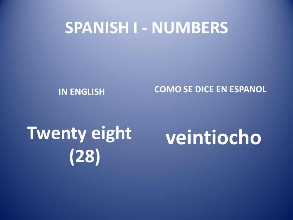 veintiocho Twenty eight (28) SPANISH I - NUMBERS
