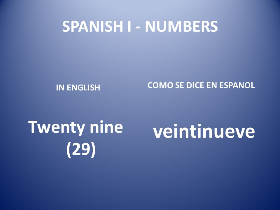 veintinueve Twenty nine (29) SPANISH I - NUMBERS