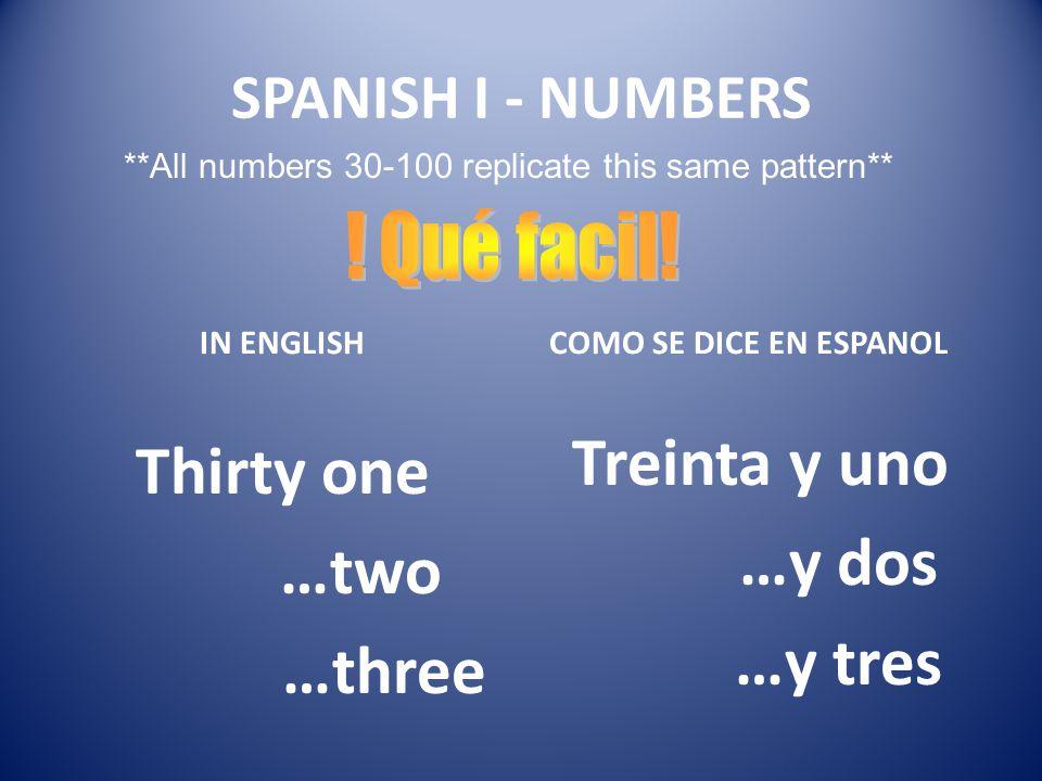 Treinta y uno …y dos …y tres