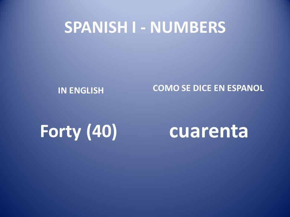cuarenta Forty (40) SPANISH I - NUMBERS COMO SE DICE EN ESPANOL