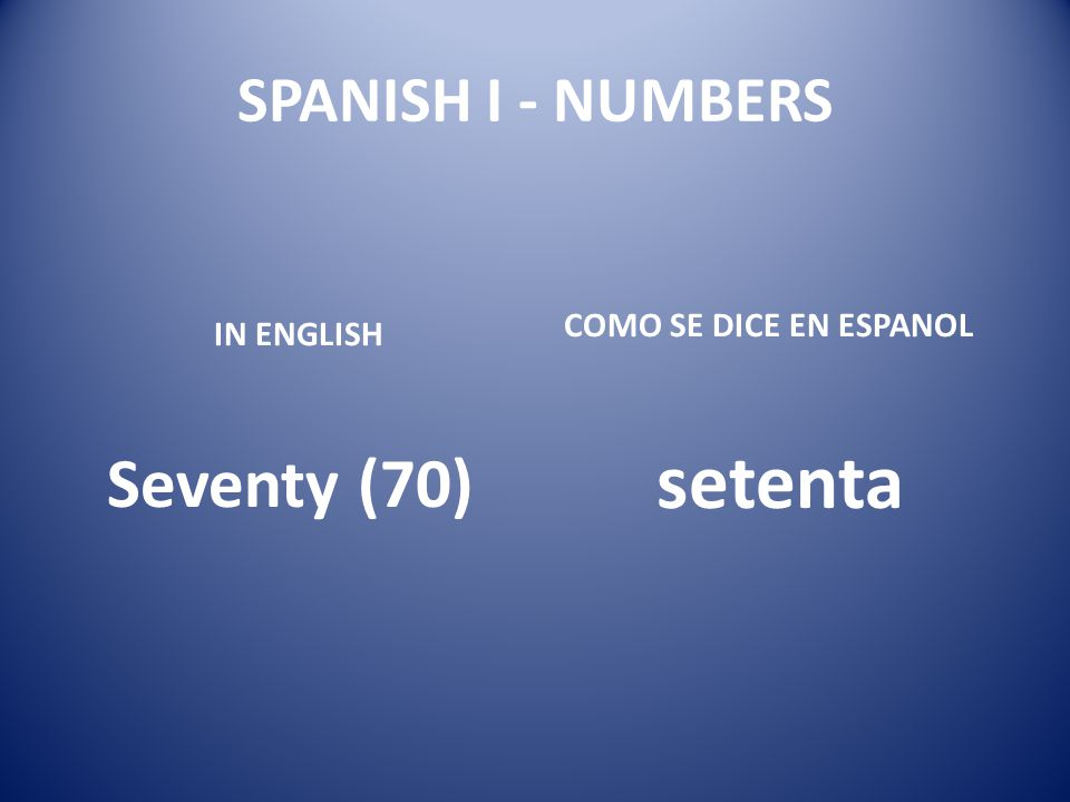 setenta Seventy (70) SPANISH I - NUMBERS COMO SE DICE EN ESPANOL