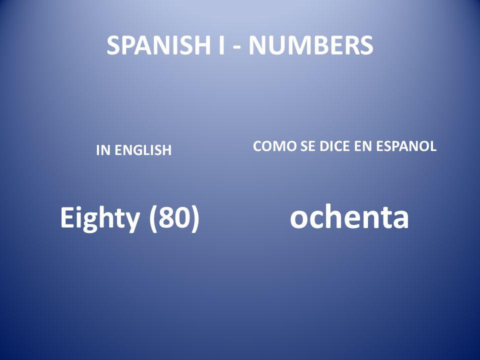 ochenta Eighty (80) SPANISH I - NUMBERS COMO SE DICE EN ESPANOL