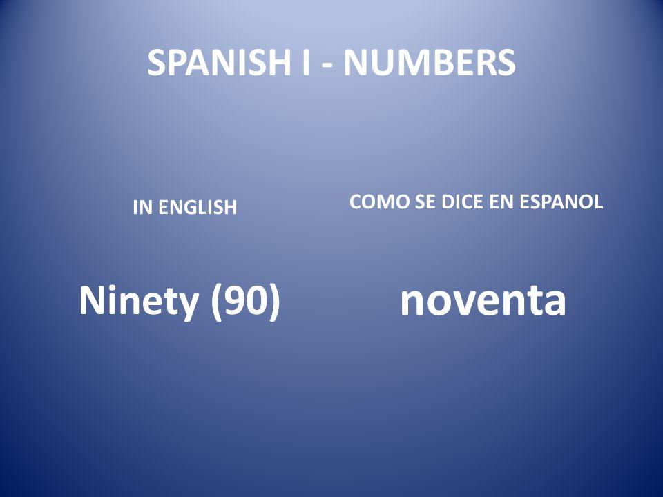 noventa Ninety (90) SPANISH I - NUMBERS COMO SE DICE EN ESPANOL