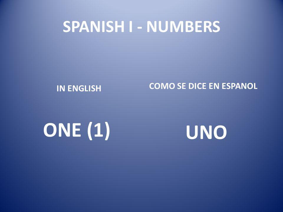 SPANISH I - NUMBERS COMO SE DICE EN ESPANOL IN ENGLISH ONE (1) UNO