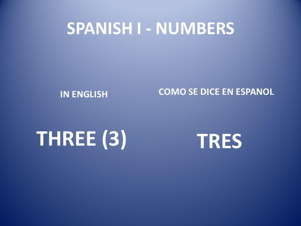 SPANISH I - NUMBERS COMO SE DICE EN ESPANOL IN ENGLISH THREE (3) TRES