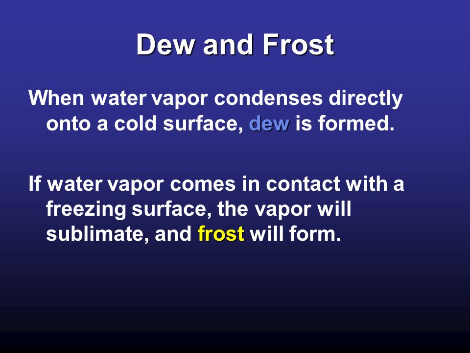 Dew and Frost When water vapor condenses directly onto a cold surface, dew is formed.