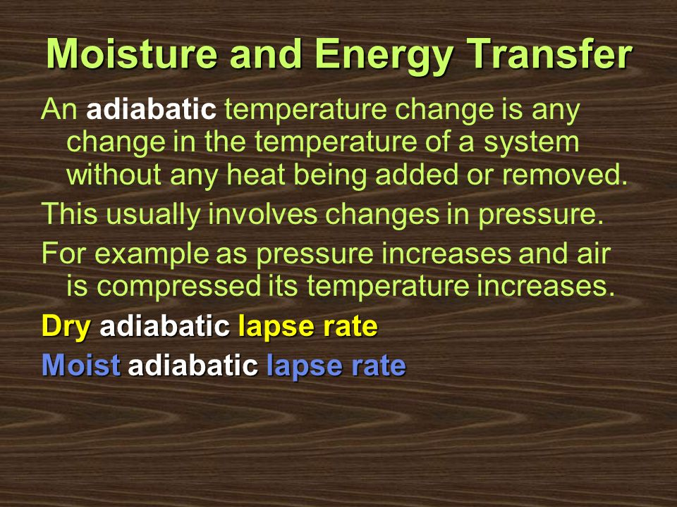 Moisture and Energy Transfer
