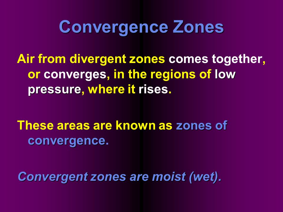 Convergence Zones Air from divergent zones comes together, or converges, in the regions of low pressure, where it rises.