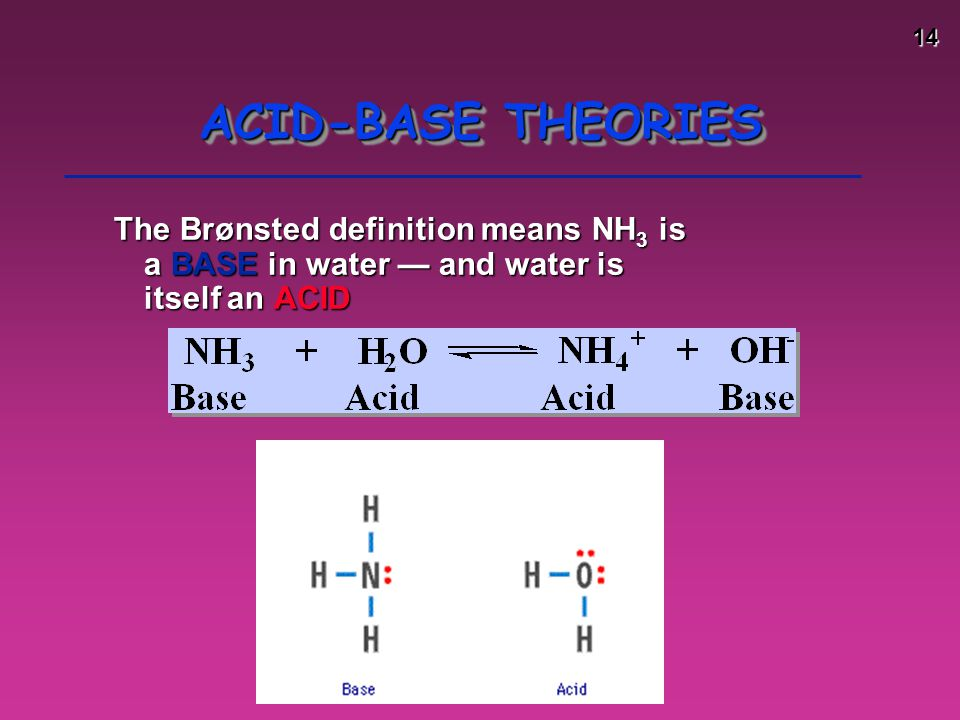 ACID-BASE THEORIES The Brønsted definition means NH3 is a BASE in water — and water is itself an ACID.