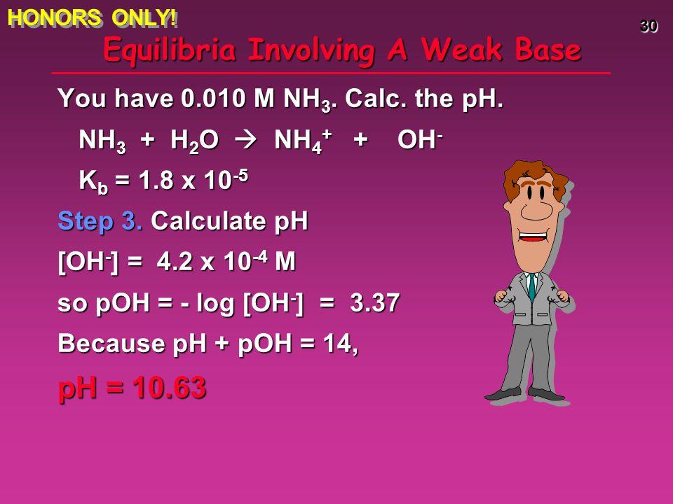 Equilibria Involving A Weak Base