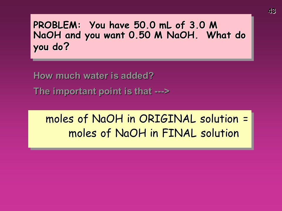 moles of NaOH in ORIGINAL solution = moles of NaOH in FINAL solution