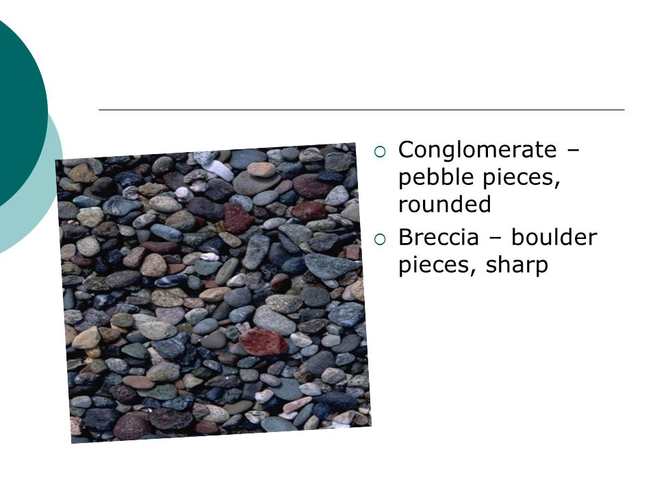 Conglomerate – pebble pieces, rounded