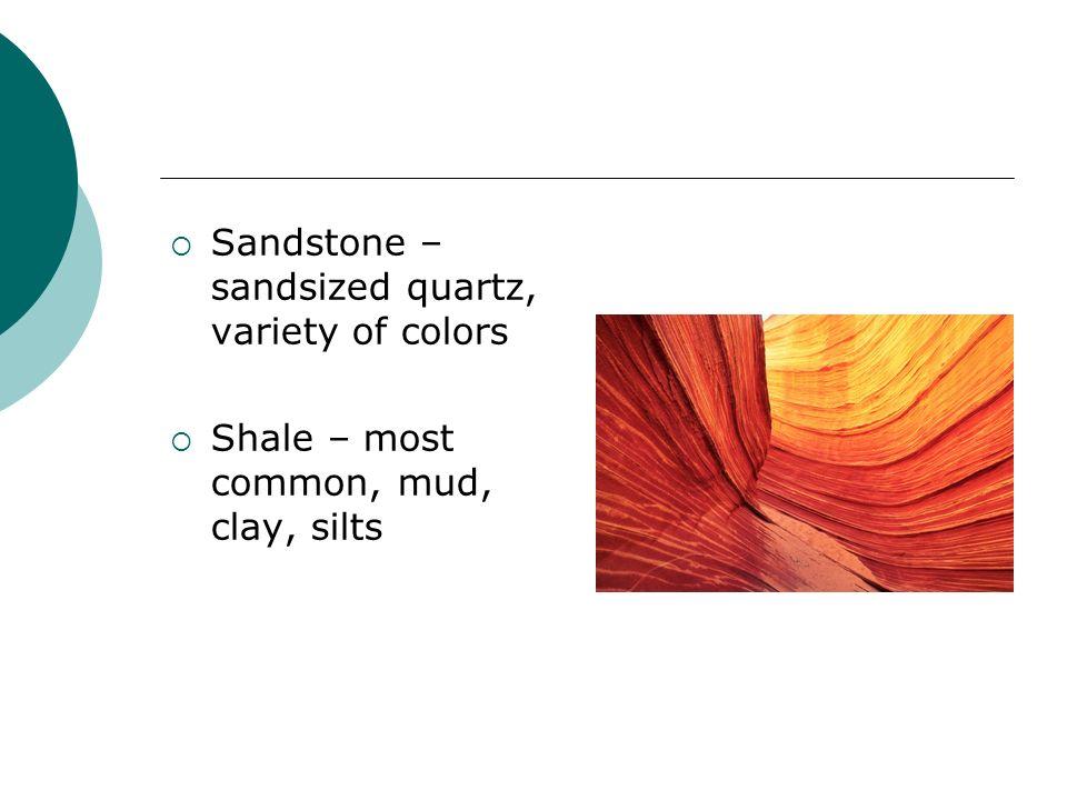 Sandstone – sandsized quartz, variety of colors