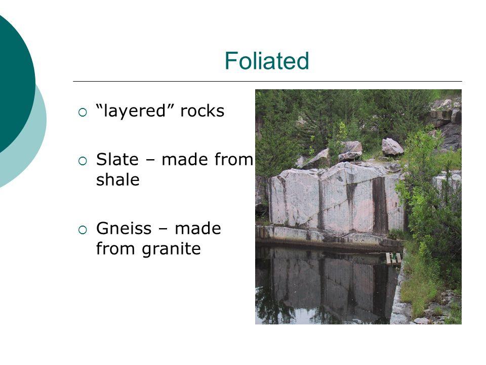 Foliated layered rocks Slate – made from shale