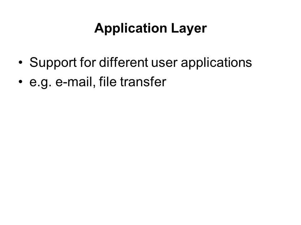 Application Layer Support for different user applications e.g. e-mail, file transfer