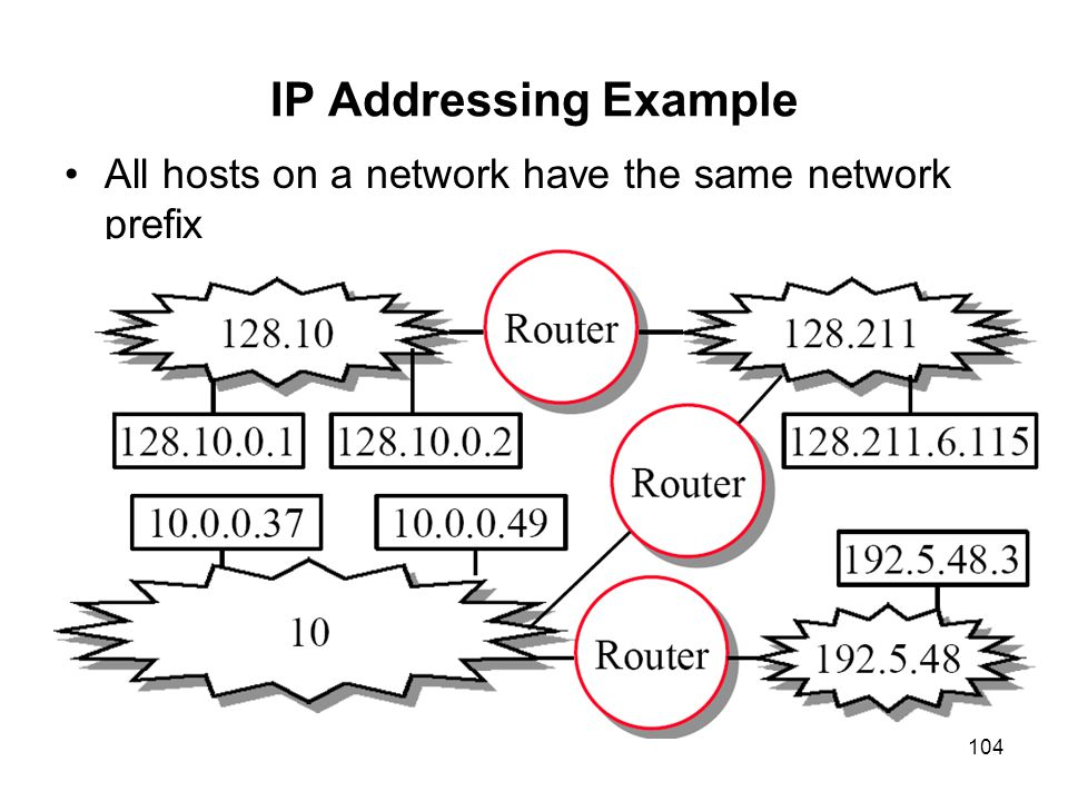 IP Addressing Example All hosts on a network have the same network prefix