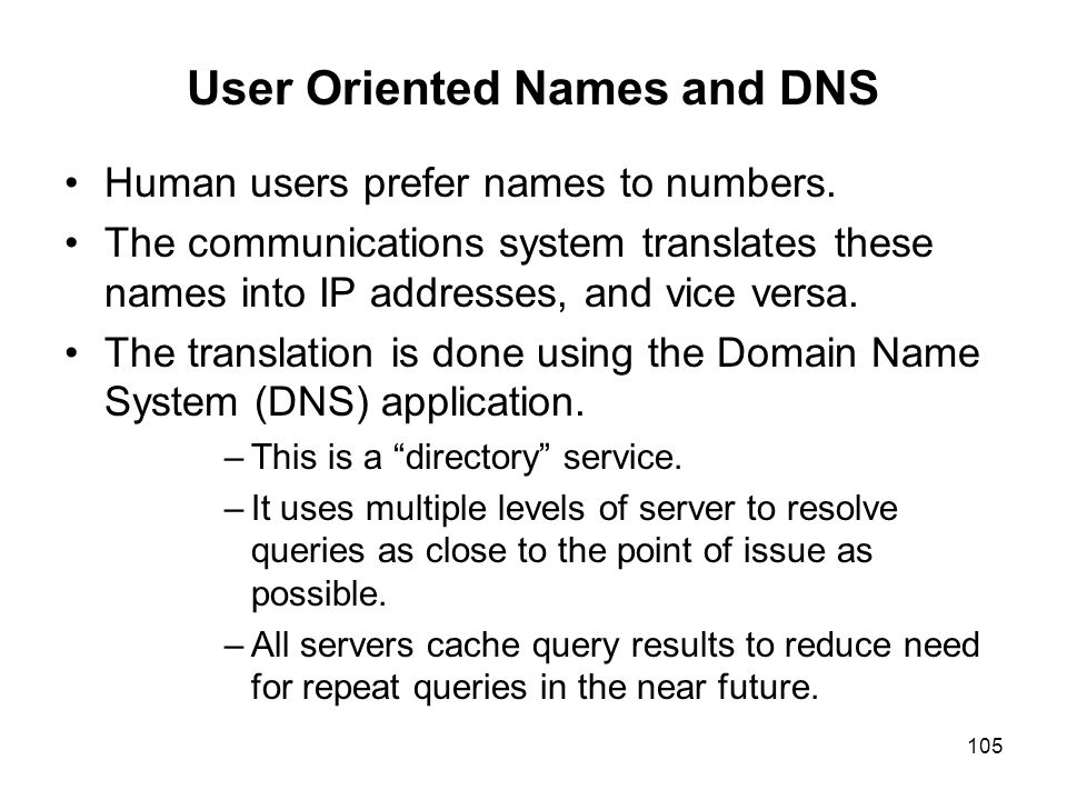 User Oriented Names and DNS