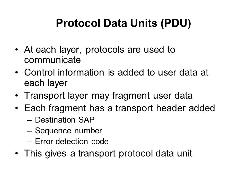Protocol Data Units (PDU)