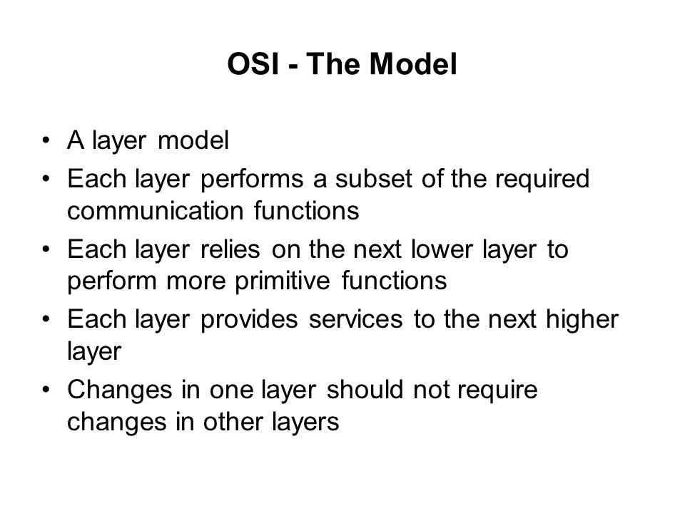 OSI - The Model A layer model