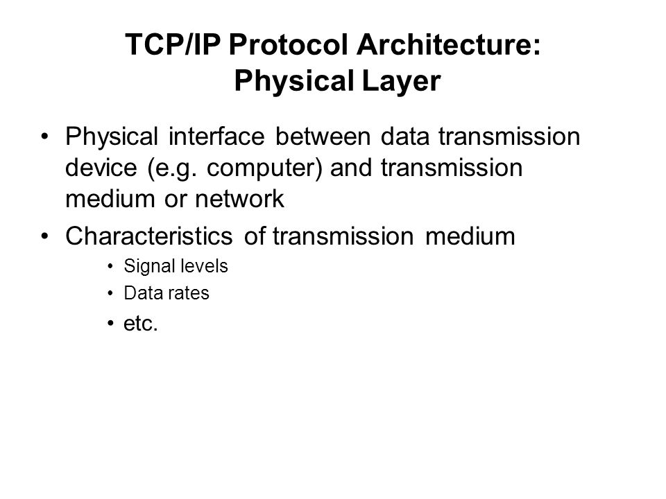 TCP/IP Protocol Architecture: Physical Layer