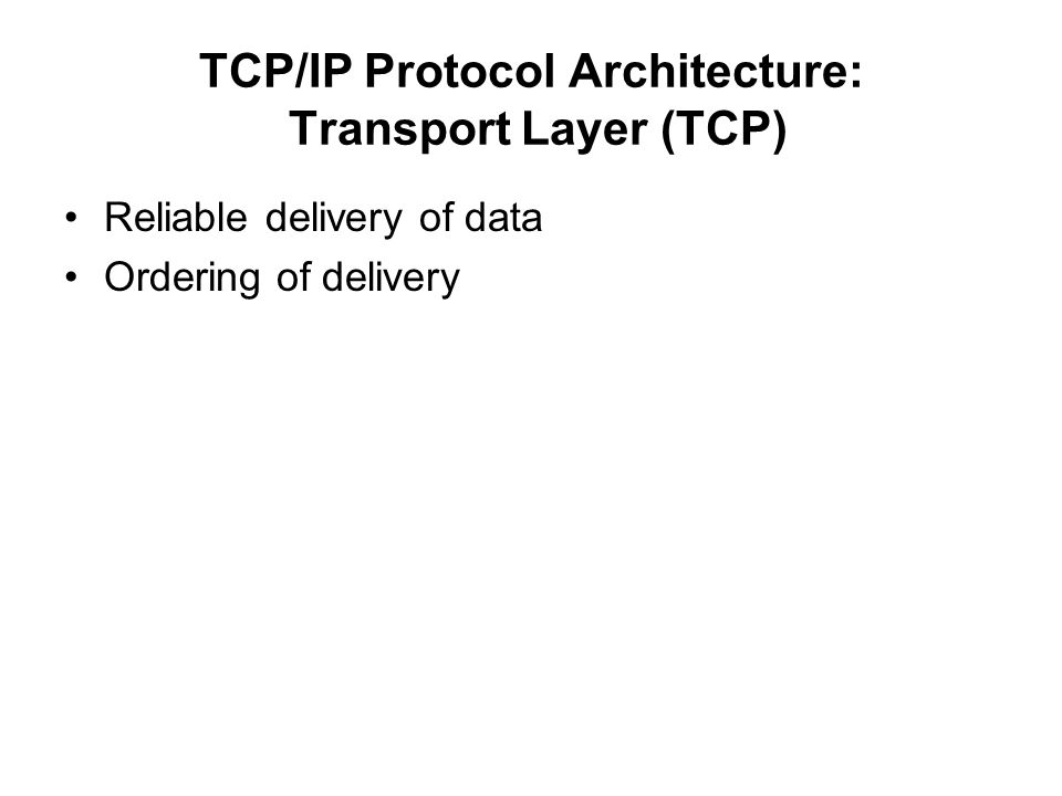 TCP/IP Protocol Architecture: Transport Layer (TCP)