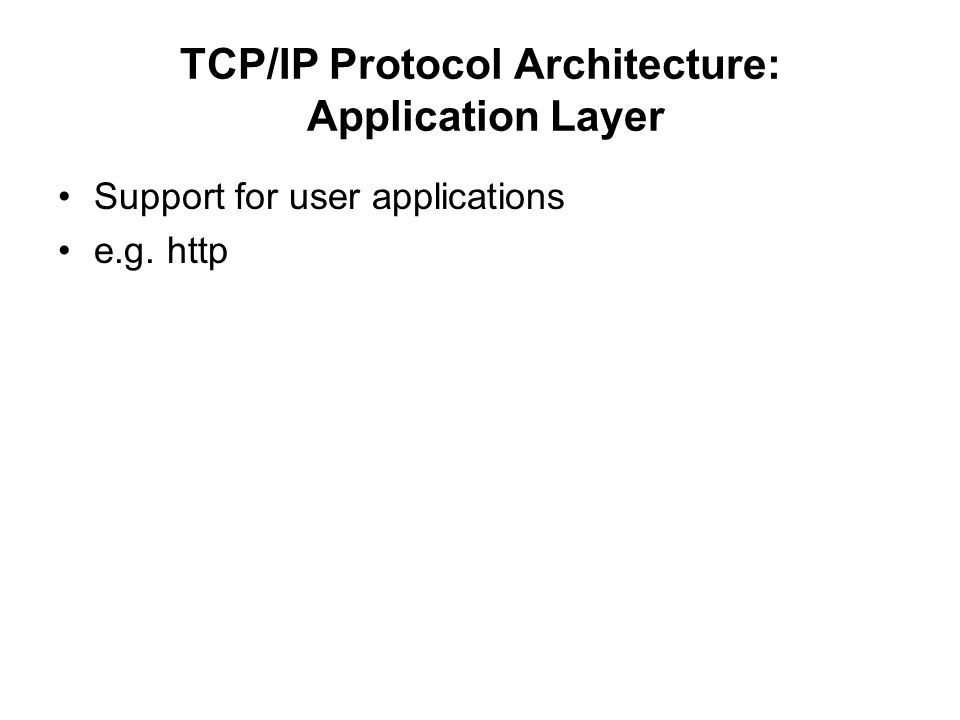 TCP/IP Protocol Architecture: Application Layer