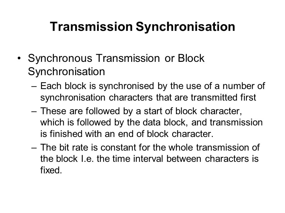 Transmission Synchronisation