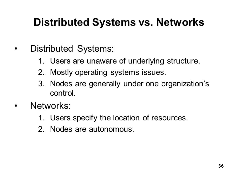 Distributed Systems vs. Networks