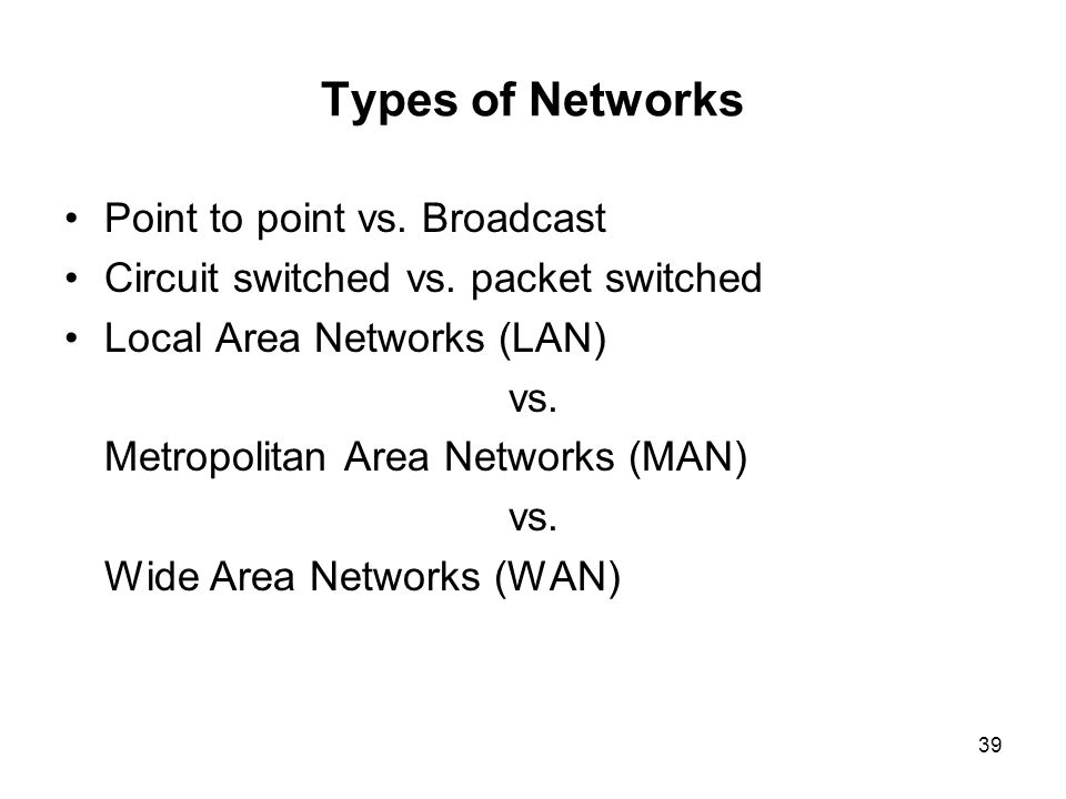 Types of Networks Point to point vs. Broadcast