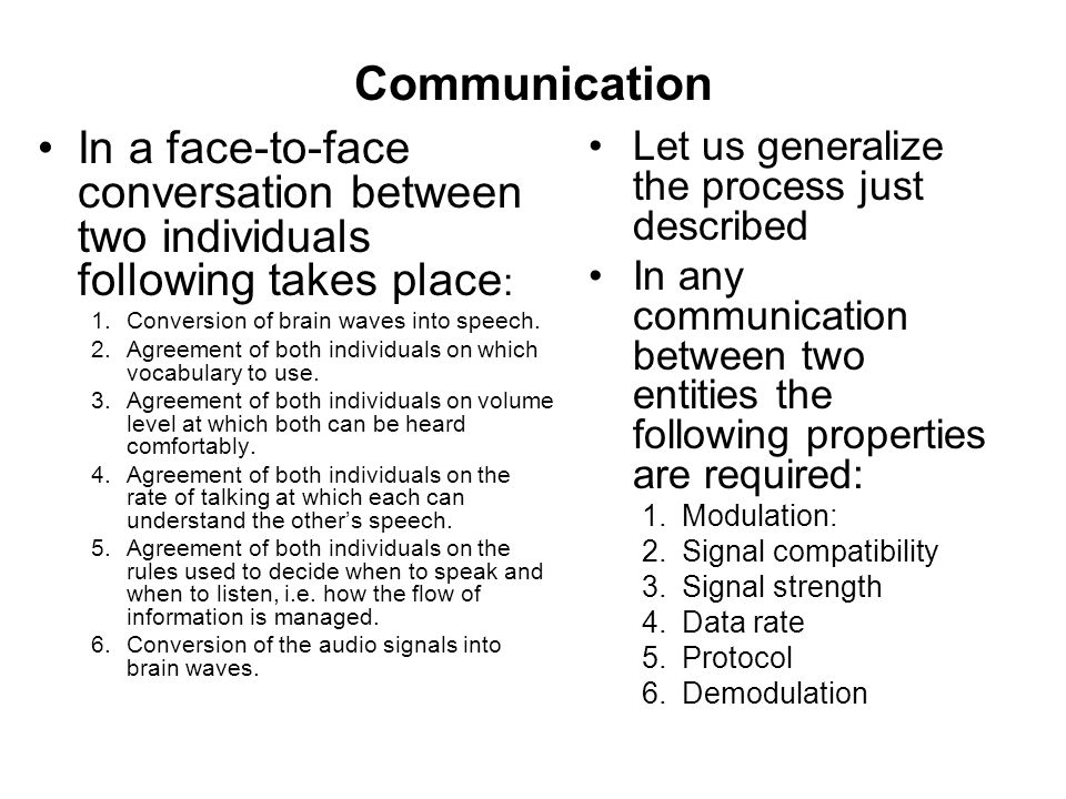 Communication In a face-to-face conversation between two individuals following takes place: Conversion of brain waves into speech.