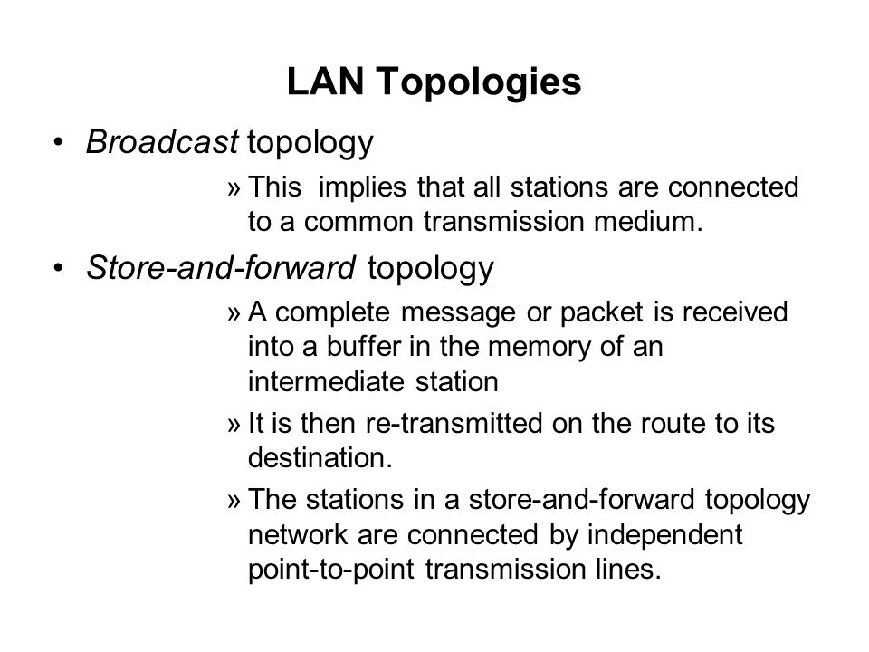 LAN Topologies Broadcast topology Store-and-forward topology