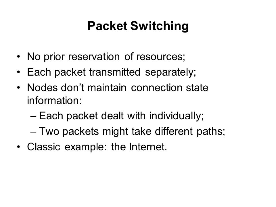 Packet Switching No prior reservation of resources;