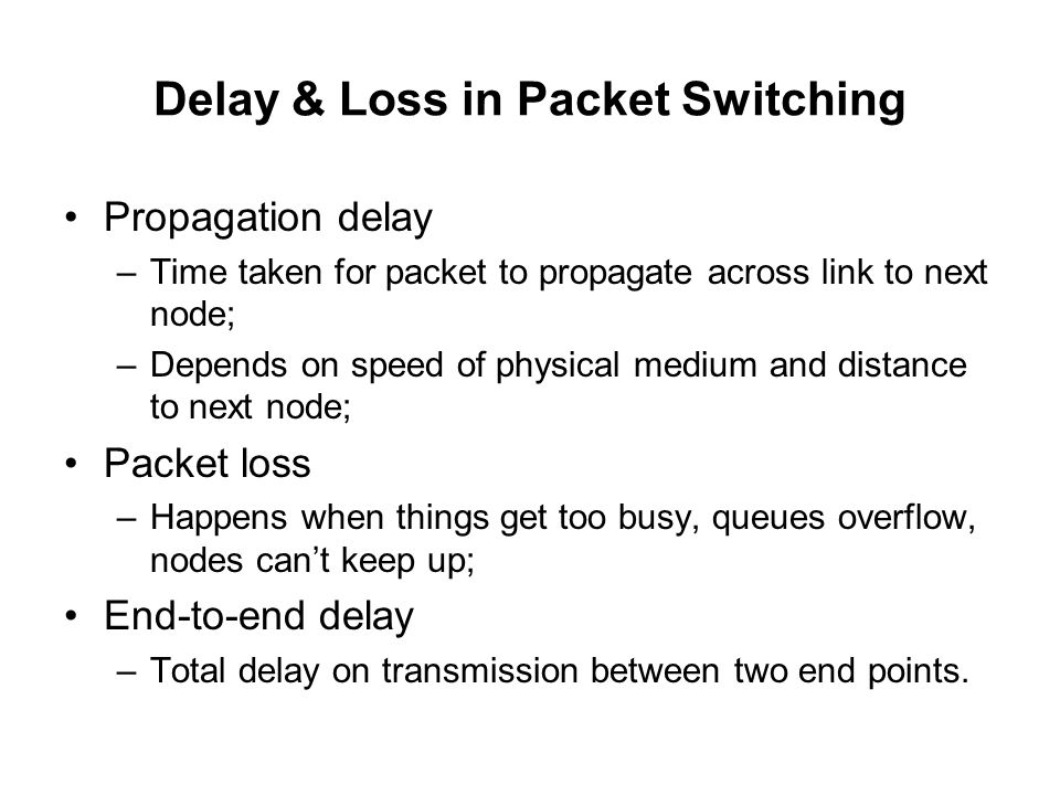 Delay & Loss in Packet Switching