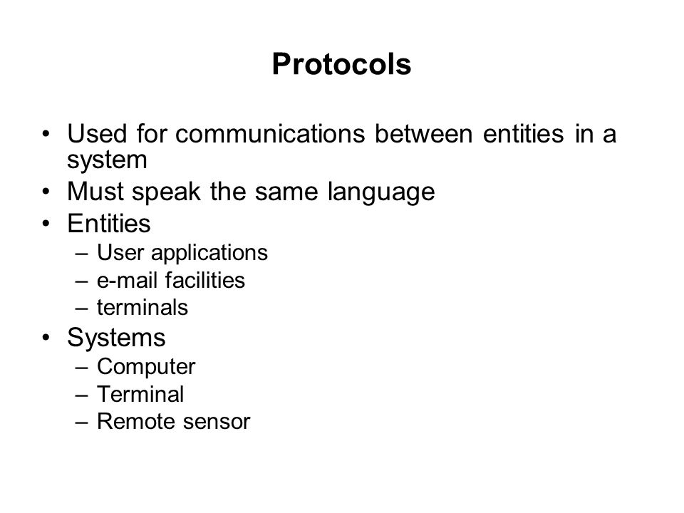 Protocols Used for communications between entities in a system