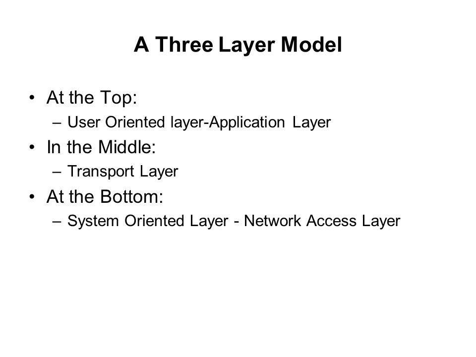 A Three Layer Model At the Top: In the Middle: At the Bottom: