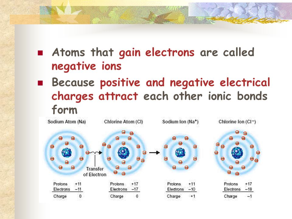 Atoms that gain electrons are called negative ions