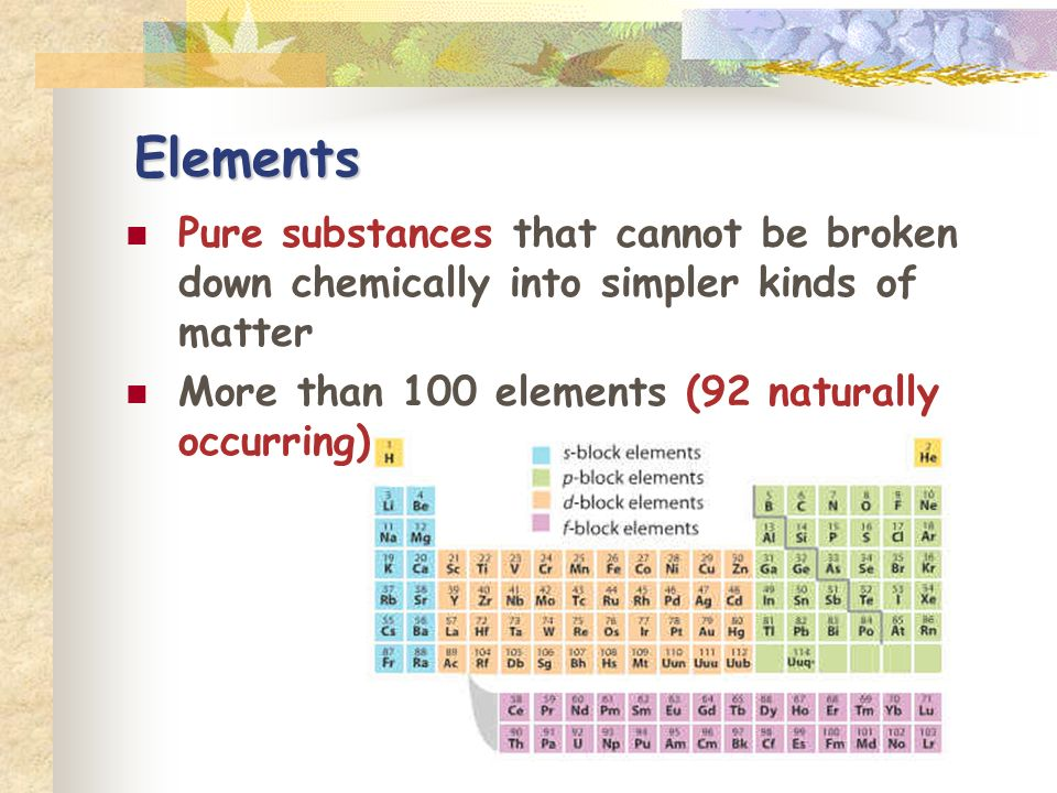 Elements Pure substances that cannot be broken down chemically into simpler kinds of matter.