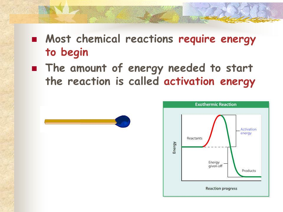 Most chemical reactions require energy to begin