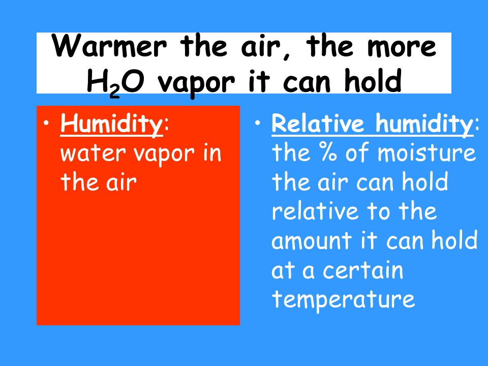 Warmer the air, the more H2O vapor it can hold