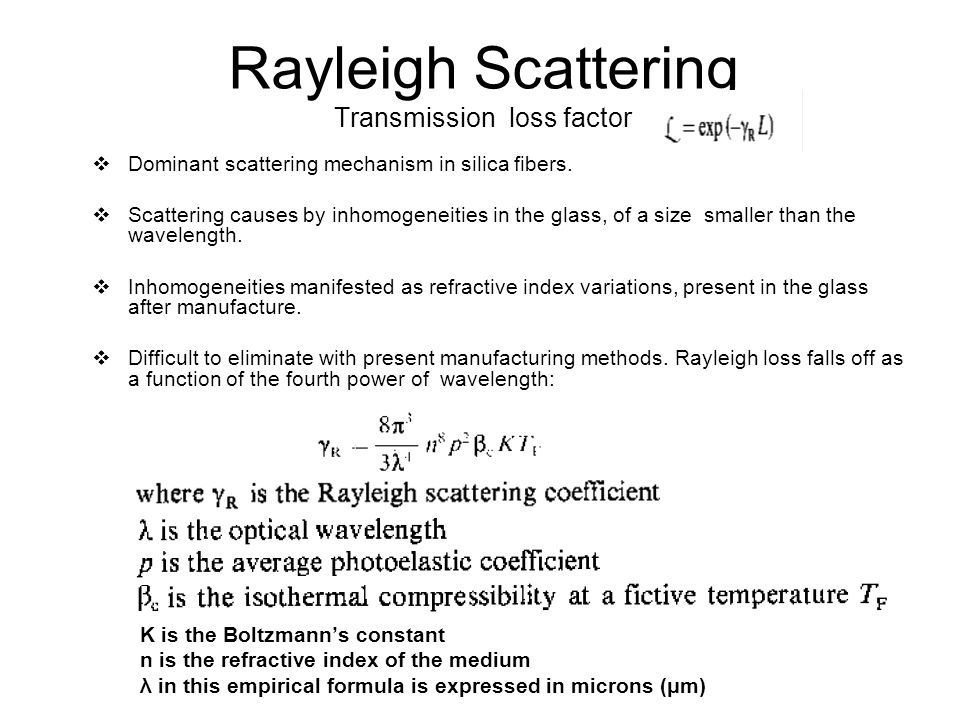 Rayleigh Scattering Transmission loss factor