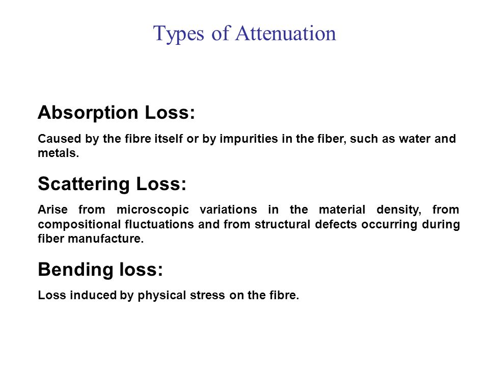 Types of Attenuation Absorption Loss: Scattering Loss: Bending loss: