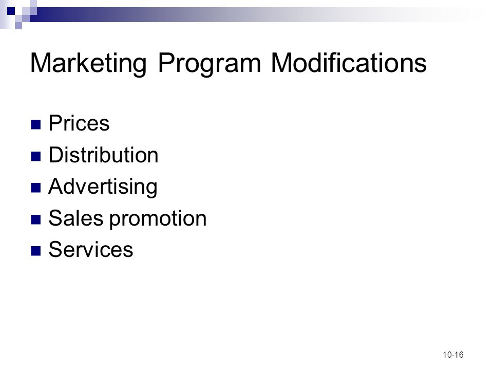 Marketing Program Modifications