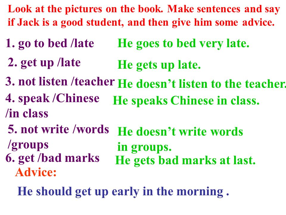 4. speak /Chinese /in class He speaks Chinese in class.