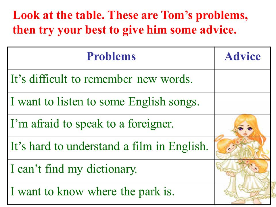 Look at the table. These are Tom's problems, then try your best to give him some advice.