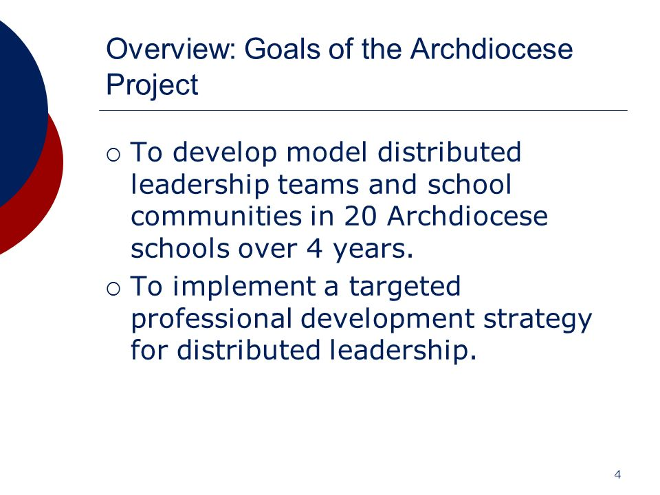 Overview: Goals of the Archdiocese Project