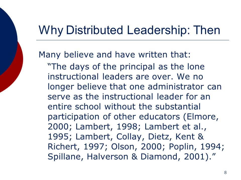 Why Distributed Leadership: Then
