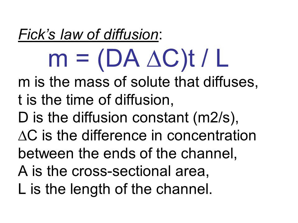 Fick's law of diffusion:
