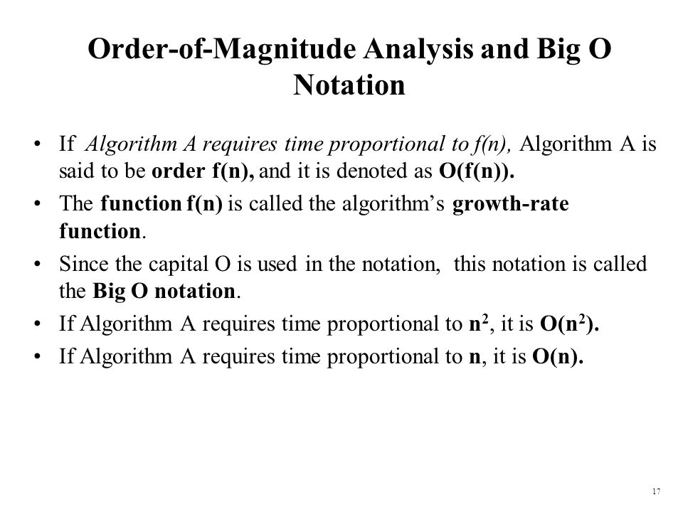 Order-of-Magnitude Analysis and Big O Notation
