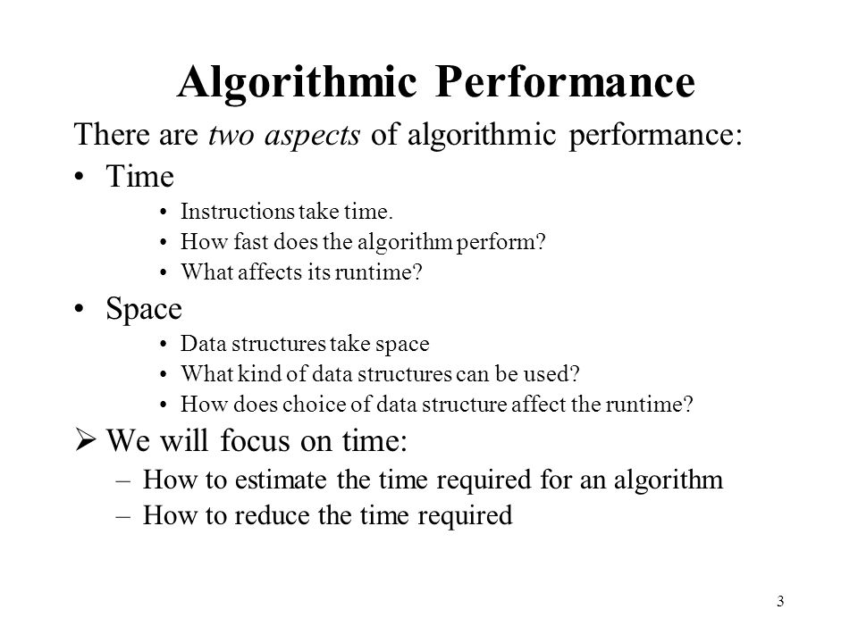 Algorithmic Performance